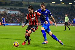 Adam Smith of Bournemouth under pressure from Christian Fuchs of Leicester City - Mandatory by-line: Jason Brown/JMP - 13/12/2016 - FOOTBALL - Vitality Stadium - London, England - AFC Bournemouth v Leicester City - Premier League