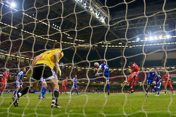 CARDIFF, WALES - Saturday, October 11, 2008: Wales' Ched Evans heads the second goal past Liechtenstein' goalkeeper Peter Jehle during the 2010 FIFA World Cup South Africa Qualifying Group 4 match at the Millennium Stadium. (Photo by David Rawcliffe/Propaganda)