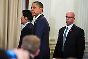18 NOVEMBER 2012 - BANGKOK, THAILAND:  US President Barack Obama leaves the joint press conference with President Obama and Prime Minister Shinawatra in Government House on November 18, 2012 in Bangkok, Thailand. Obama will become the first serving US President to visit Myanmar during his four-day tour of Southeast Asia that will also include visits to Thailand and Cambodia.     PHOTO BY JACK KURTZ