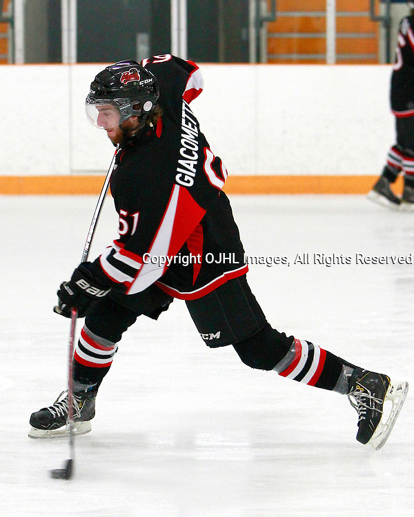 STOUFFVILLE, ON - Jan 9 : Ontario Junior Hockey League Game Action between the Stouffville Spirit and the Pickering Panthers, Michael Giacometti #61 of the Pickering Panthers Hockey Club shoots the puck.<br /> (Photo by Brian Watts / OJHL Images)