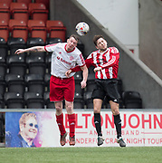 Steven Tront competes for a high ball - Dundee Argyle v Dykehead AFC in the Scottish Sunday Trophy semi final at Excelsior Stadium, Airdrie, Photo: David Young<br /> <br />  - &copy; David Young - www.davidyoungphoto.co.uk - email: davidyoungphoto@gmail.com