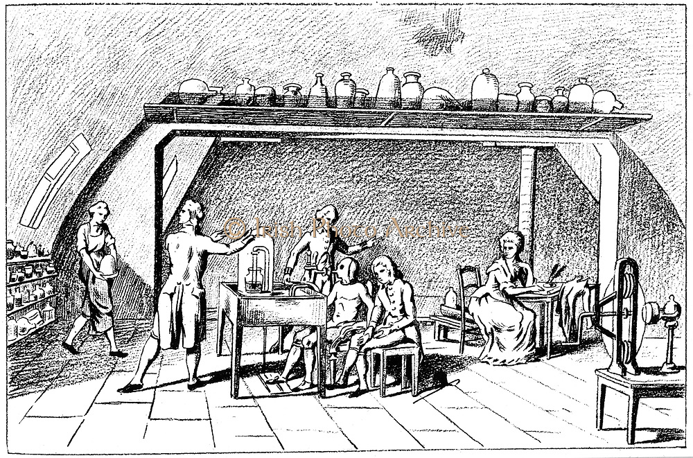 Antoine Laurent Lavoisier (1743-1794) French chemist, discovered oxygen. Lavoisier investigating respiration. He discovered the interchange of gases in the lungs, and proved that carbon dioxide and water are the normal products of breathing. Based on a picture by Madame Lavoisier (shown right) taking notes. Engraving