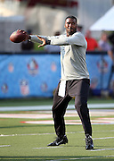 Buffalo Bills quarterback EJ Manuel (3) throws a pregame pass before the 2014 NFL Pro Football Hall of Fame preseason football game against the New York Giants on Sunday, Aug. 3, 2014 in Canton, Ohio. The Giants won the game 17-13. ©Paul Anthony Spinelli