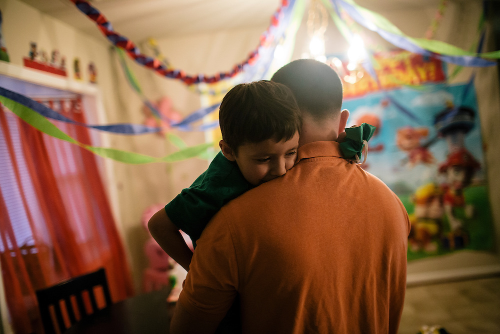 Matthew Camilleri spends time with his son Nick, 5, early in the morning before school on March 17, 2015. Camilleri, who is in the Army, moved with his family to the  Joint Base Anacostia-Bolling in SW Washington, D.C. from Germany.