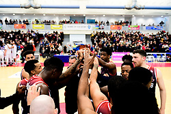 Bristol Flyers huddle after the final whistle of the match - Photo mandatory by-line: Ryan Hiscott/JMP - 17/01/2020 - BASKETBALL - SGS Wise Arena - Bristol, England - Bristol Flyers v London City Royals - British Basketball League Championship