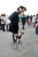 05/08/2012  James Tonery and his dog  at the final day of the Galway Races Summer festival for the mad Hatters competition . Photo:Andrew Downes.