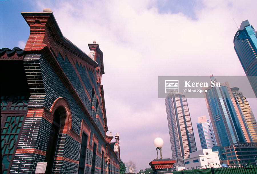 Modern highrises with traditional architecture in the Pudong, Shanghai, China