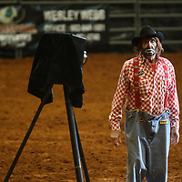 Libby Ezell | BUY AT PHOTOS.DJOURNAL.COM<br /> Lecile the Rodeo Clown entertains the crowd while the competitors prepare for the next event
