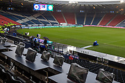 A wet and wild day at the National Stadium awaits both sides when they arrive for the Betfred Scottish League Cup Final match between Rangers and Celtic at Hampden Park, Glasgow, United Kingdom on 8 December 2019.