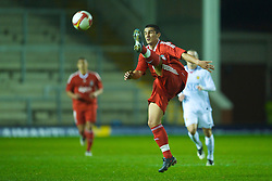 WARRINGTON, ENGLAND - Thursday, March 12, 2009: Liverpool's Vitor Flora in action against Manchester United during the FA Premiership Reserves League (Northern Division) match at the Halliwell Jones Stadium. (Photo by David Rawcliffe/Propaganda)