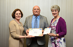 Lincolnshire Co-operative long service awards 2017 held at The Showroom, Lincoln.  Pictured, from left, Lincolnshire Co-operative chief executive Ursula Lidbetter, David Tomlinson (50 years - Lincoln Transport) and Lincolnshire Co-operative president Julia Romney.<br /> <br /> Picture: Jane Harrison<br /> Date: September 20, 2017