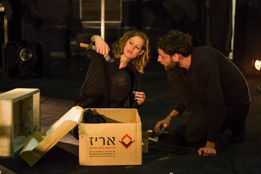 "Brooklyn, NY - December 6, 2017. Dress rehearsal of the New York premiere of ""Suddenly"", based on stories by Etgar Keret, directed by Zvi Sahar, produced by the Cameri Theatre of Tel Aviv."
