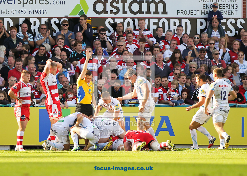 Picture by Tom Smith/Focus Images Ltd 07545141164<br /> 06/10/2013<br /> Dean Mumm of Exeter Chiefs extends his sides lead by scoring a try during the Aviva Premiership match at Kingsholm Stadium , Gloucester.