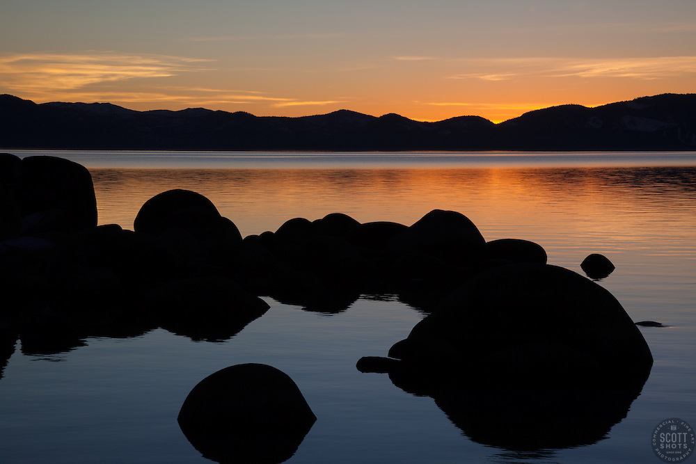 """Sunset at Lake Tahoe 28"" - These boulders were photographed at Secret Cove, Lake Tahoe at sunset."