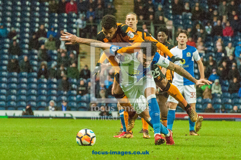Fraizer Campbell of Hull City in a battle for possession with Derrick Williams of Blackburn Rovers during the FA Cup match at Ewood Park, Blackburn<br /> Picture by Matt Wilkinson/Focus Images Ltd 07814 960751<br /> 06/01/2018