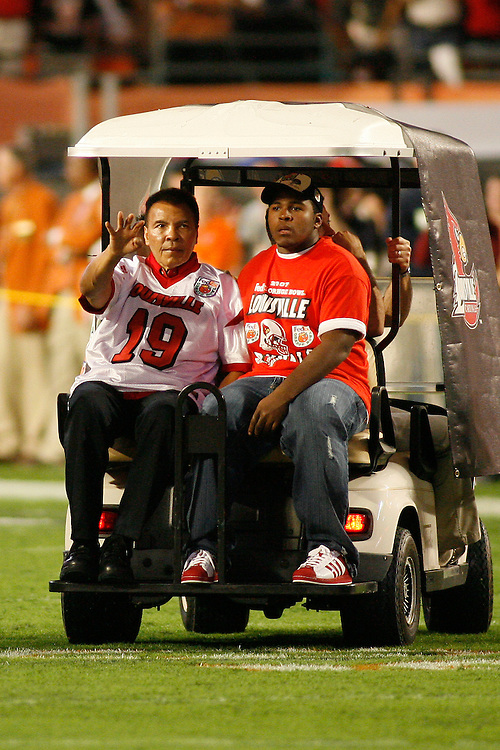 Boxing legend Muhammad Ali was an honorary game captain before the Louisville Cardinals 24-13 victory over the Wake Forest Demon Deacons at the 2007 Orange Bowl Game on January 2, 2007 at the Dolphin Stadium in Miami, Florida.