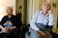 World War I Veteran Harry Landis, 107, at home in Sun City Center.  Landis is one of only four known surviving veterans of WWI.  Landis is pictured with his 99-year-old wife, Eleanor.