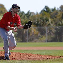 February 19, 2011; Fort Myers, FL, USA; Boston Red Sox relief pitcher Daniel Bard (51) during spring training at the Player Development Complex.  Mandatory Credit: Derick E. Hingle