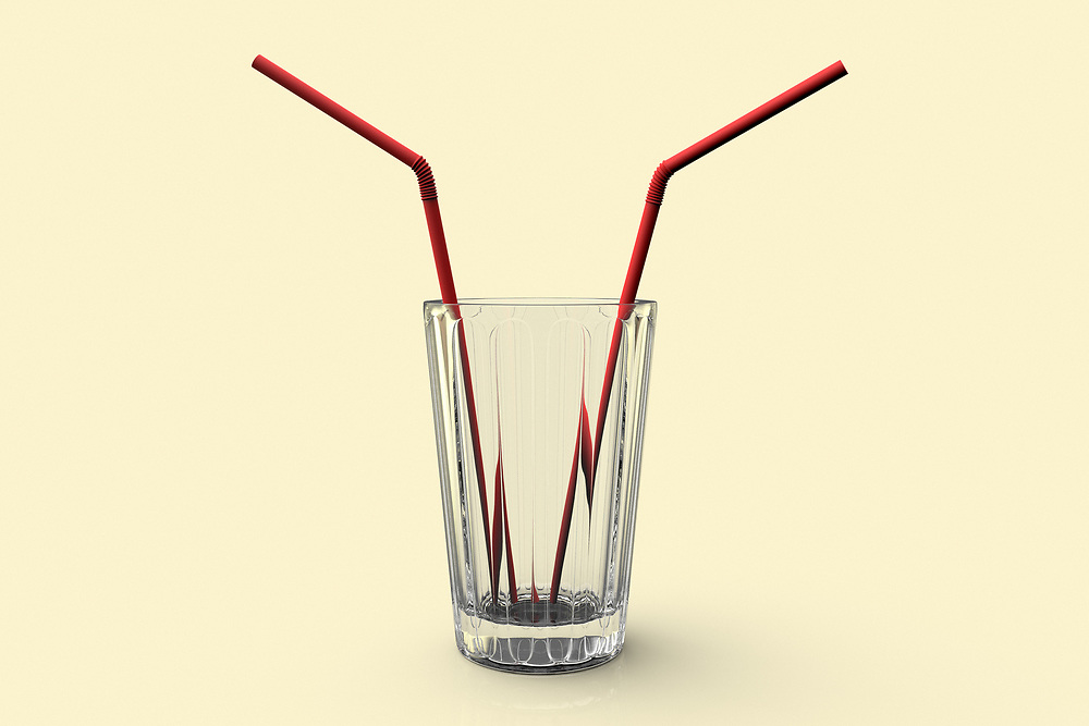 3D rendering of a conceptual image of a glass with two straws