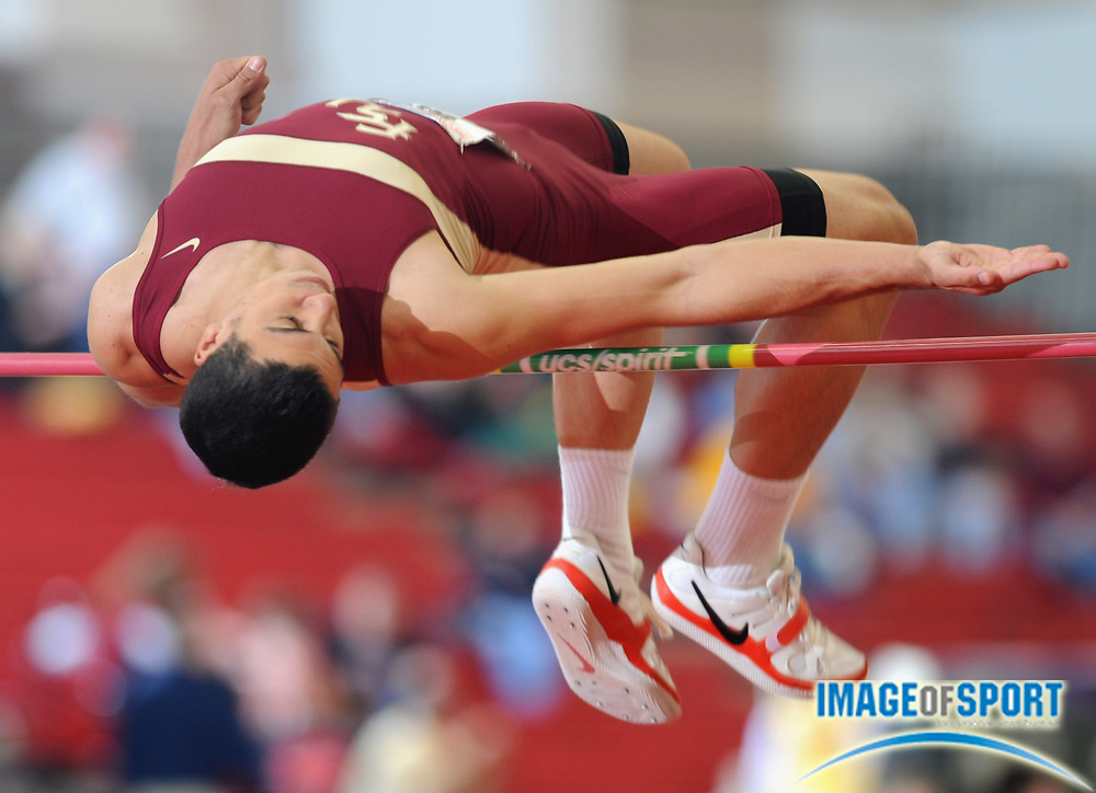 Mar 14, 2008; Fayetteville, AR, USA; Gonzalo Barroilhet of Florida State cleared 6-7 1/2 (2.02m) in the heptathlon high jump for 822 points in the NCAA indoor track and field championships at the Randal Tyson Center. Barroilhet won with 5,951 points.