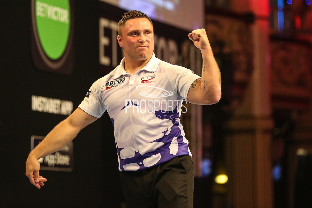 Gerwyn Price on the way to victory over Michael Smith during the First Round of the BetVictor World Matchplay Darts at the Empress Ballroom, Blackpool, United Kingdom on 19 July 2015. Photo by Shane Healey.