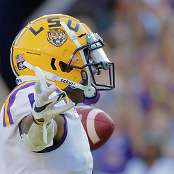Aug 31, 2019; Baton Rouge, LA, USA; LSU Tigers wide receiver Ja'Marr Chase (1) celebrates after a touchdown catch against the Georgia Southern Eagles during the first quarter at Tiger Stadium. Mandatory Credit: Derick E. Hingle-USA TODAY Sports