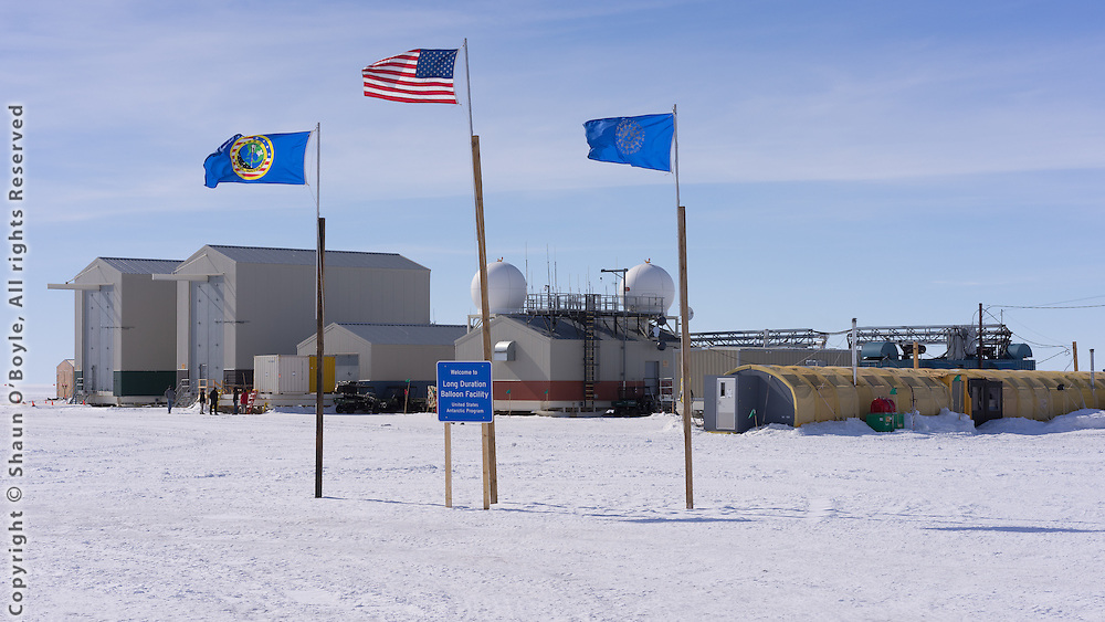 LDB site, in the distance are the two telescope assembly hangars, the two tallest buildings in Antarctica.