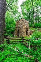 Roaring Run Iron Furnace (National Register of Historic Places), Roaring Run Recreational Area, Botetourt County, near Roanoke, Virginia USA.