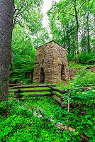 Roaring Run Iron Furnace (National Register of Historic Places), Roaring Run Recreational Area, Botetourt County, near Roanoke, Virginia USA.