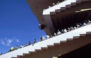 Vista lateral de las tribunas del Hipódromo de La Rinconada.  View of the stands of La Rinconada's Racetrack. Caracas, 2000. (Ramón Lepage/Orinoquiaphoto)