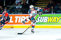 KELOWNA, CANADA - FEBRUARY 6: Tyson Baillie #24 of Kelowna Rockets takes a shot during first period against the Kamloops Blazers on February 6, 2015 at Prospera Place in Kelowna, British Columbia, Canada.  (Photo by Marissa Baecker/Shoot the Breeze)  *** Local Caption *** Tyson Baillie;