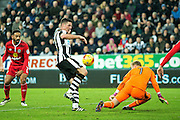 Newcastle United defender Ciaran Clark (#2) has an effort saved by Blackburn Rovers goalkeeper Jason Steele (#1) during the EFL Sky Bet Championship match between Newcastle United and Blackburn Rovers at St. James's Park, Newcastle, England on 26 November 2016. Photo by Craig Doyle.