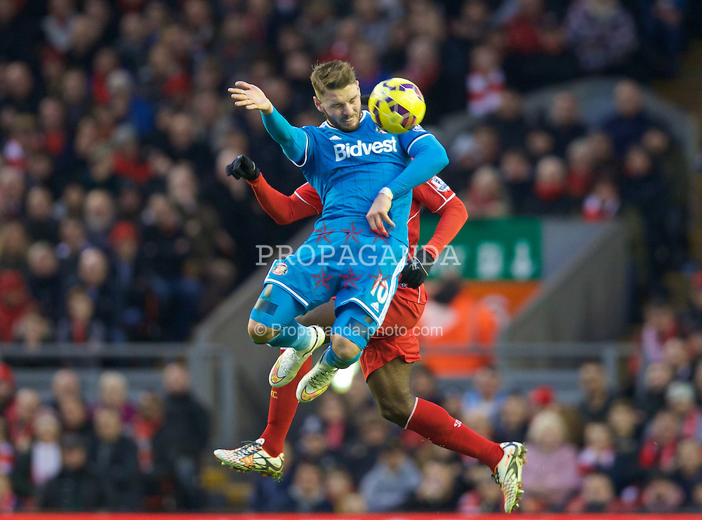 LIVERPOOL, ENGLAND - Saturday, December 6, 2014: Sunderland's Connor Wickham in action against Liverpool during the Premier League match at Anfield. (Pic by David Rawcliffe/Propaganda)