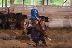 May 21, 2017 - Minshall Farm Cutting 4, held at Minshall Farms, Hillsburgh Ontario. The event was put on by the Ontario Cutting Horse Association. Riding in the 25,000 Novice Horse Non-Pro Class is Raegan Zingbeil on Peppy Bag O Lena owned by the rider.