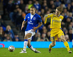 LIVERPOOL, ENGLAND - Thursday, December 17, 2009: Everton's Jack Rodwell picks up an injury during the UEFA Europa League Group I match against FC BATE Borisov at Goodison Park. (Pic by David Rawcliffe/Propaganda)