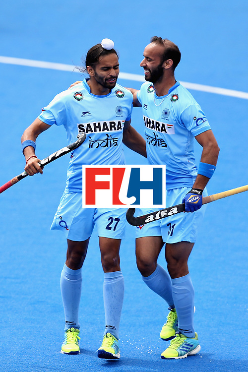 LONDON, ENGLAND - JUNE 17:  Akashdeep Singh of India celebrates scoring the second goal for India during the Hero Hockey World League Semi Final match between Canada and India at Lee Valley Hockey and Tennis Centre on June 17, 2017 in London, England.  (Photo by Alex Morton/Getty Images)