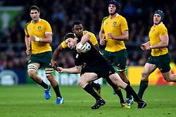 Beauden Barrett of New Zealand is tackled by Tevita Kuridrani of Australia - Mandatory byline: Patrick Khachfe/JMP - 07966 386802 - 31/10/2015 - RUGBY UNION - Twickenham Stadium - London, England - New Zealand v Australia - Rugby World Cup 2015 Final.
