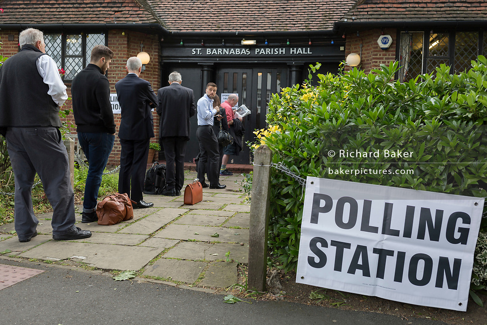 Early voters for the UK 2017 general elections queue outside the polling station at St. Barnabas Parish Hall in Dulwich Village  on 8th June 2017, in London, England.