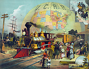 Train in station on Illinois Central Railroad. Background, a map of ICRR  lines in US, c1882.  Transport Steam Locomotive Cowcatcher Headlight Passenger Ship Canal Barge Stagecoach Horse Carriage Telegraph America Chromolithograph
