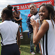 High School athletes at the medal presentation during the 2013 NYC Mayor's Cup Outdoor Track and Field Championships at Icahn Stadium, Randall's Island, New York USA.13th April 2013 Photo Tim Clayton