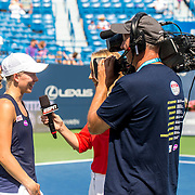 August 25, 2016, New Haven, Connecticut: <br /> Johanna Larsson of Sweden is interviewed by ESPN after winning a match against Roberta Vinci of Italy on Day 7 of the 2016 Connecticut Open at the Yale University Tennis Center on Thursday, August  25, 2016 in New Haven, Connecticut. <br /> (Photo by Billie Weiss/Connecticut Open)