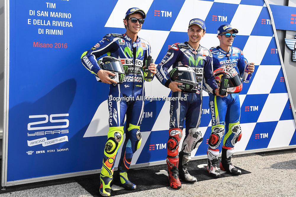 10.09.2016. Misano World Circuit, Rimini, Italy. MotoGP Grand Prix of San Marino, Qualifying sessions. Pole sitters Valentino Rossi, Jorge Lorenzo, Maverick Vinales.