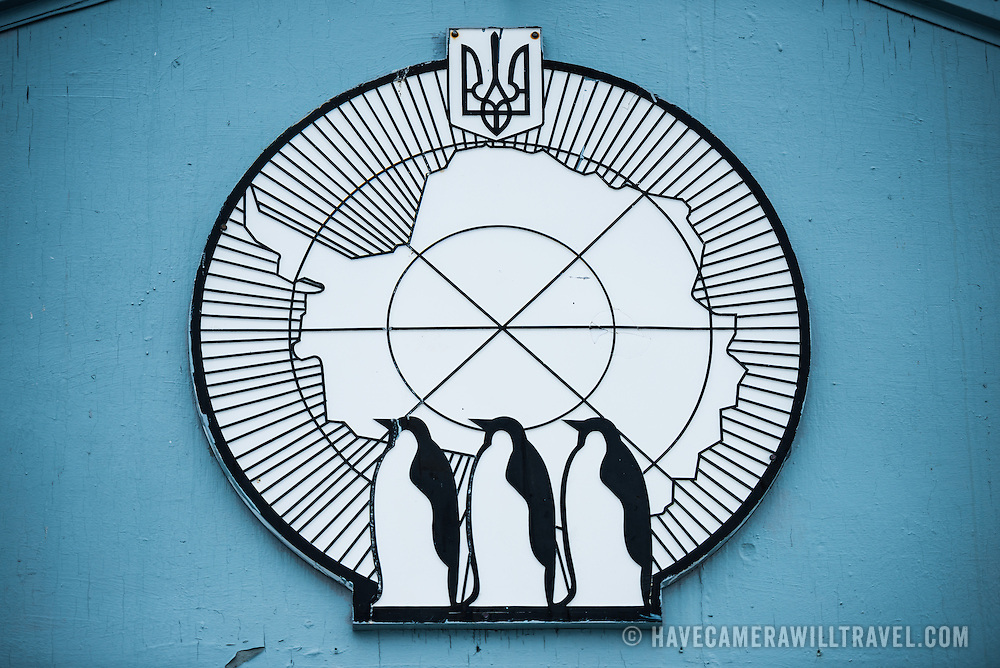 The insignia on the outside of a building at the Ukrainian Vernadsky Research Base in Antarctica. Originally established by the British first as Base F in the British Falkland Islands Dependencies and later as Faraday Station, it was transferred to the Ukraine in 1996 and renamed Vernadsky Research Base after Soviet mineralogist Vladimir Vernadsky.