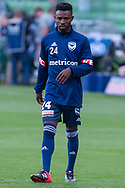 SYDNEY, NSW - JANUARY 12: Melbourne Victory midfielder Elvis Kamsoba (24) during warm up at the Hyundai A-League Round 13 soccer match between Melbourne Victory and Newcastle Jets at AAMI Park in VIC, Australia 12 January 2019. (Photo by Speed Media/Icon Sportswire)