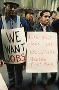 Unemployed workers demonstrate for jobs, New York City 1970<br /> Supported financially by its membership and outside contributions, Fight Back provided job counseling and placement for victims of racial discrimination, particularly in the building trades, but was also active in the rank and file movements of the longshore, utility, transit, garment, and other industries. Its tactics included negotiation, lobbying, and coalition building, as well as lawsuits, boycotts, and demonstrations. Fight Back played an important role in creating equal employment opportunity programs, increasing minority hiring at construction sites, and forcing unions to open their membership rolls, although it also experienced numerous setbacks throughout the years.