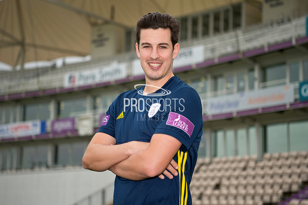 Portrait of Chris Wood in front of the pavilion during the Hampshire County Cricket Club Media Day at the Ageas Bowl, Southampton, United Kingdom on 10 April 2018. Picture by Dave Vokes.
