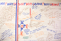 25 October, 2008. Bristol, PA. A banner where people write why they choose Obama for President is here at the Obama volunteer Headquarters in Bristol, PA. Today Obama volunteers from New York and New Jersey canvas in Bristol Croydon, a white middle-class suburb 19 miles northeast from Philadelphia, PA. The Three Parks Independent Democrats group from the New York City Upper West Side organized a bus trip from the Upper West Side to Bristol, PA. Their goal is to canvas door-to-door in the suburbs, collecting statistics and trying to convince undecided voters to vote for Sen. Barack Obama. Pennsylvania is an Obama leading state that Sen. John McCain has been looking to turn Republcan. Pennsylvania will be a key state on election day, since it has 21 electoral votes.<br /> The Obama volunteers in New York have been helping the campaign for weeks organizing phone banking, fund raisings, canvas, concerts, fashion shows, etc.<br /> <br /> <br /> ©2008 Gianni Cipriano for The New York Times<br /> cell. +1 646 465 2168 (USA)<br /> cell. +1 328 567 7923 (Italy)<br /> gianni@giannicipriano.com<br /> www.giannicipriano.com