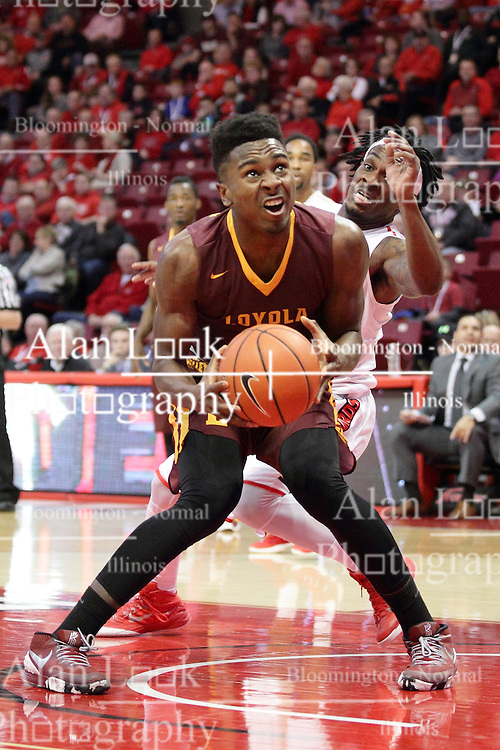 06 January 2016: Donte Ingram(0) freezes to fake Paris Lee(1) during the Illinois State Redbirds v Loyola-Chicago Ramblers at Redbird Arena in Normal Illinois (Photo by Alan Look)
