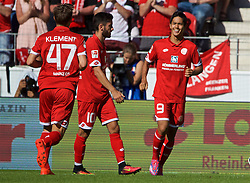 MAINZ, GERMANY - Sunday, August 7, 2016: FSV Mainz 05's Yoshinori Muto celebrates scoring the fourth goal against Liverpool during a pre-season friendly match at the Opel Arena. (Pic by David Rawcliffe/Propaganda)