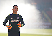 Charlton Athletic goalkeeper Dimitar Mitov (27) during the warm up before the Sky Bet Championship match between Charlton Athletic and Middlesbrough at The Valley, London, England on 13 March 2016. Photo by Andy Walter.